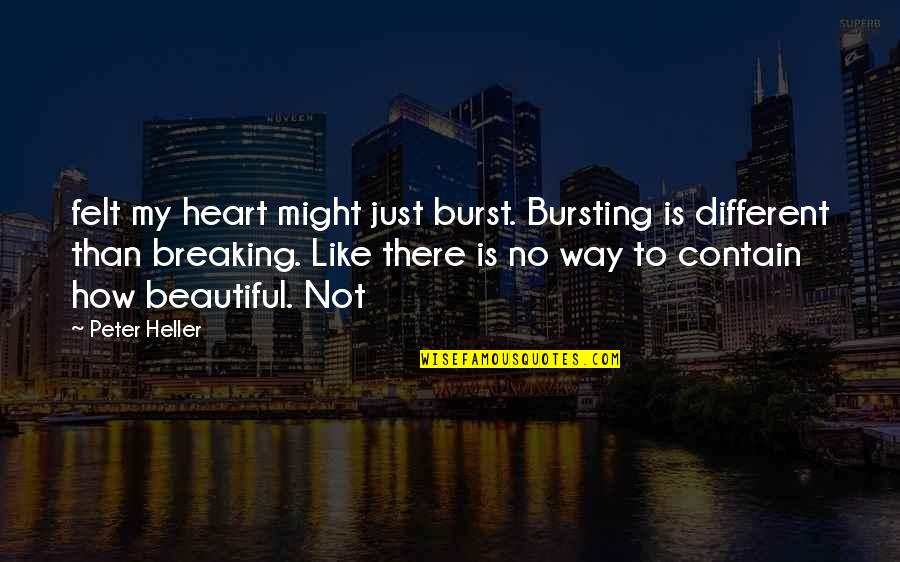 Contain Quotes By Peter Heller: felt my heart might just burst. Bursting is
