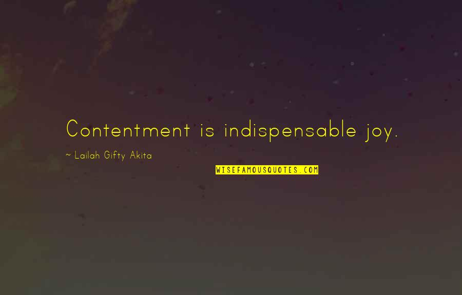 Contentment And Happiness In Life Quotes By Lailah Gifty Akita: Contentment is indispensable joy.