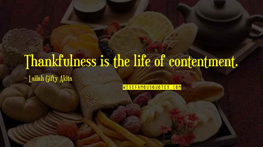 Contentment And Happiness In Life Quotes By Lailah Gifty Akita: Thankfulness is the life of contentment.