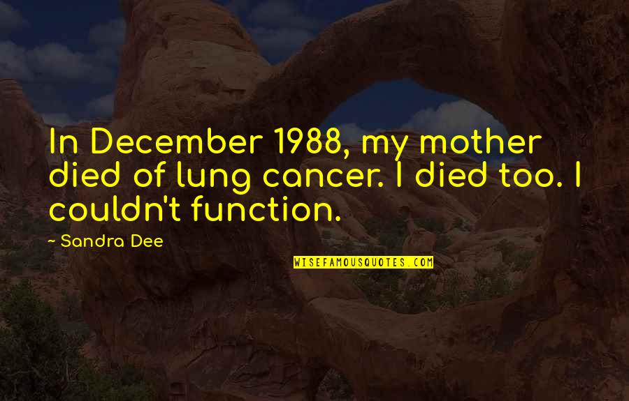 Contibution Quotes By Sandra Dee: In December 1988, my mother died of lung
