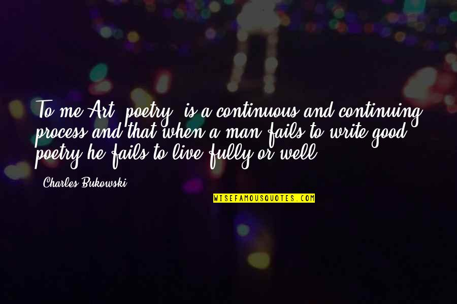 Continuing Quotes By Charles Bukowski: To me Art (poetry) is a continuous and