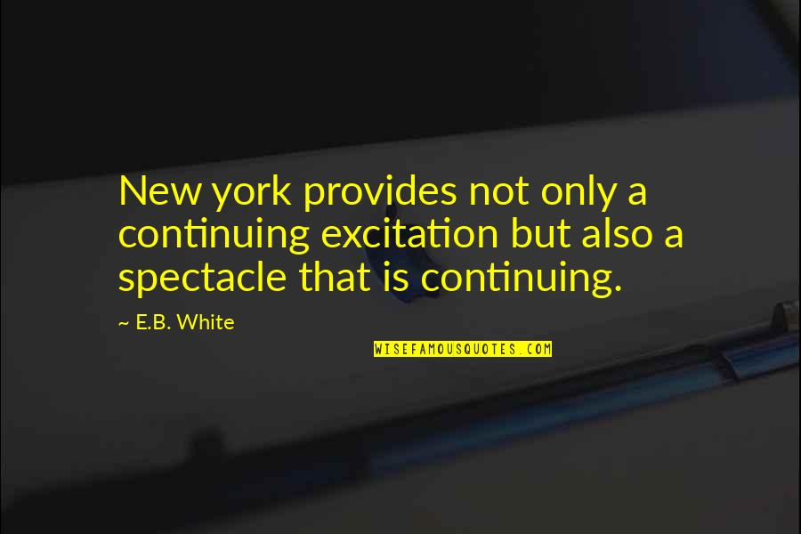 Continuing Quotes By E.B. White: New york provides not only a continuing excitation