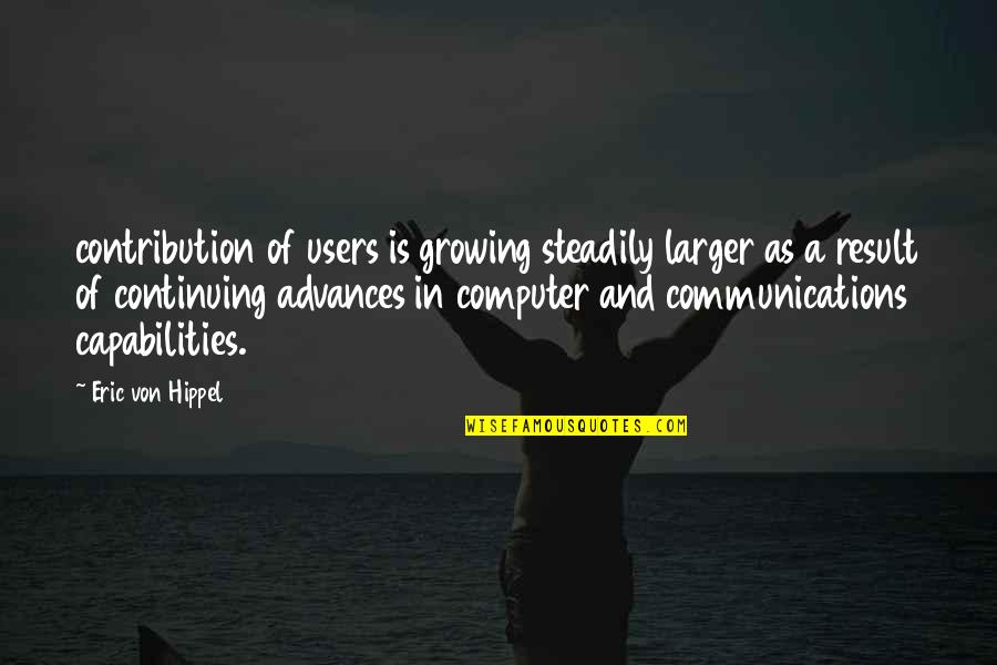 Continuing Quotes By Eric Von Hippel: contribution of users is growing steadily larger as