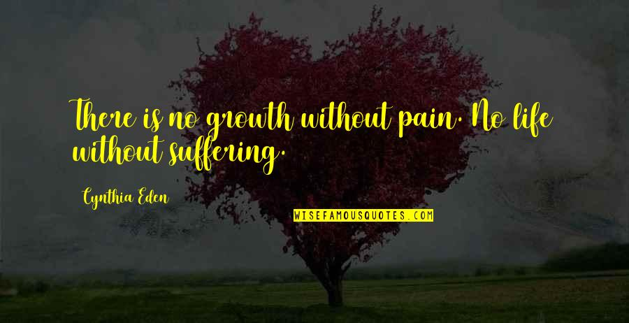 Convention Conundrum Quotes By Cynthia Eden: There is no growth without pain. No life