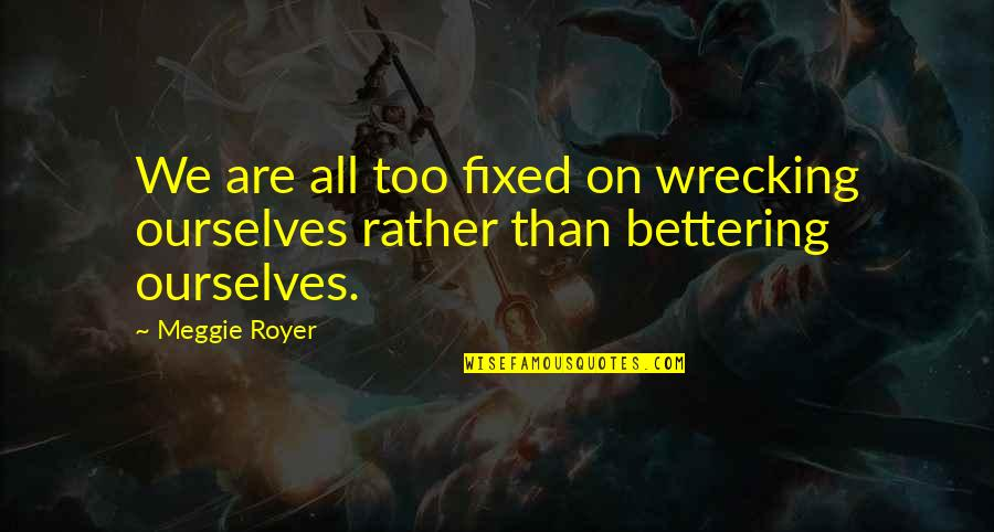 Convinctions Quotes By Meggie Royer: We are all too fixed on wrecking ourselves
