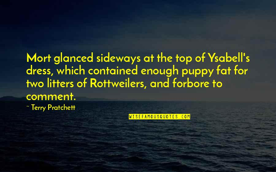 Conway Twitty Quotes By Terry Pratchett: Mort glanced sideways at the top of Ysabell's