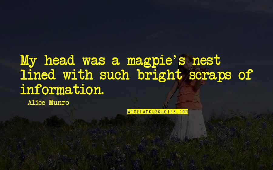Coo Coo Nest Quotes By Alice Munro: My head was a magpie's nest lined with