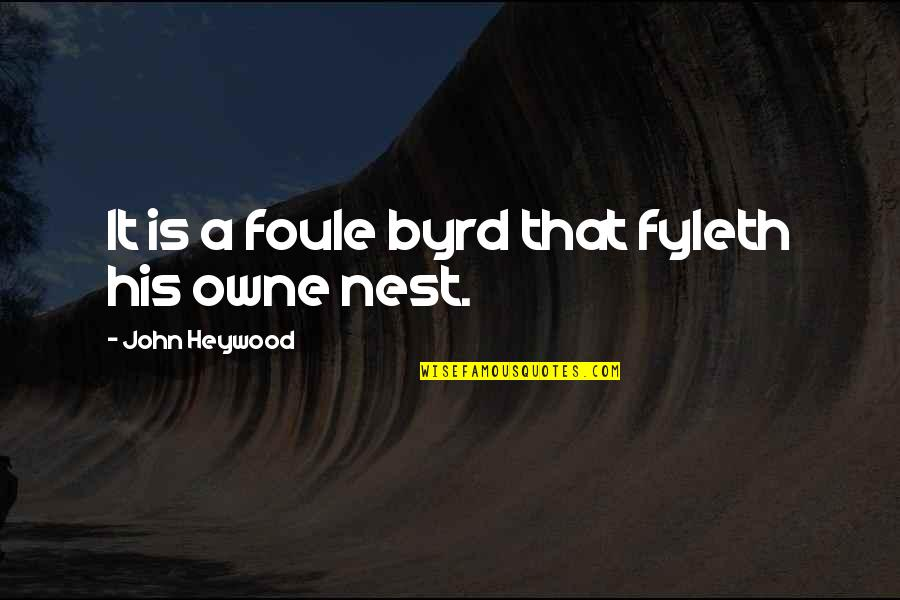 Coo Coo Nest Quotes By John Heywood: It is a foule byrd that fyleth his