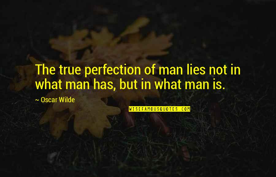 Cool Buddies Quotes By Oscar Wilde: The true perfection of man lies not in