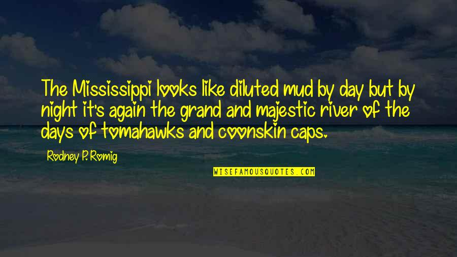 Coonskin Quotes By Rodney P. Romig: The Mississippi looks like diluted mud by day