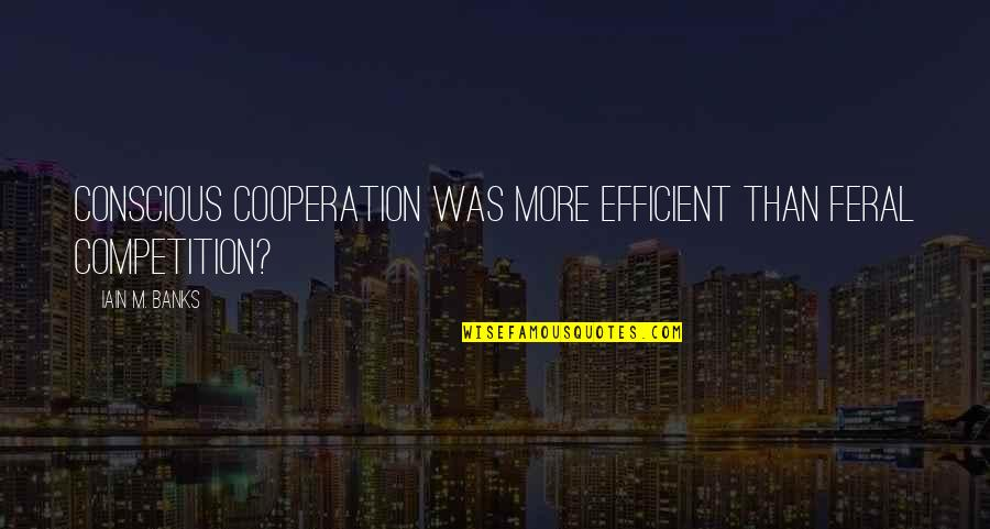 Cooperation And Competition Quotes By Iain M. Banks: Conscious cooperation was more efficient than feral competition?
