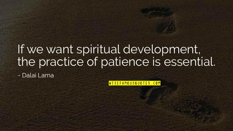 Coreopsis Quotes By Dalai Lama: If we want spiritual development, the practice of