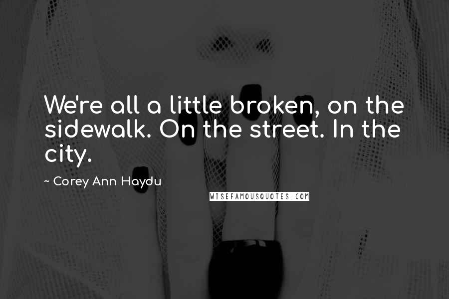 Corey Ann Haydu quotes: We're all a little broken, on the sidewalk. On the street. In the city.