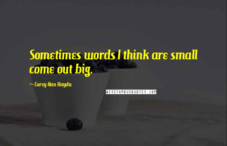 Corey Ann Haydu quotes: Sometimes words I think are small come out big.
