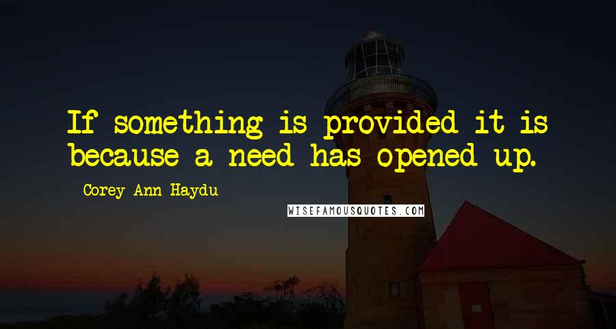 Corey Ann Haydu quotes: If something is provided it is because a need has opened up.