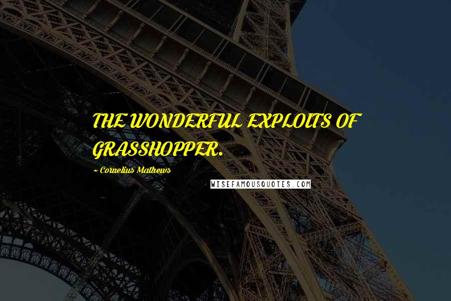 Cornelius Mathews quotes: THE WONDERFUL EXPLOITS OF GRASSHOPPER.