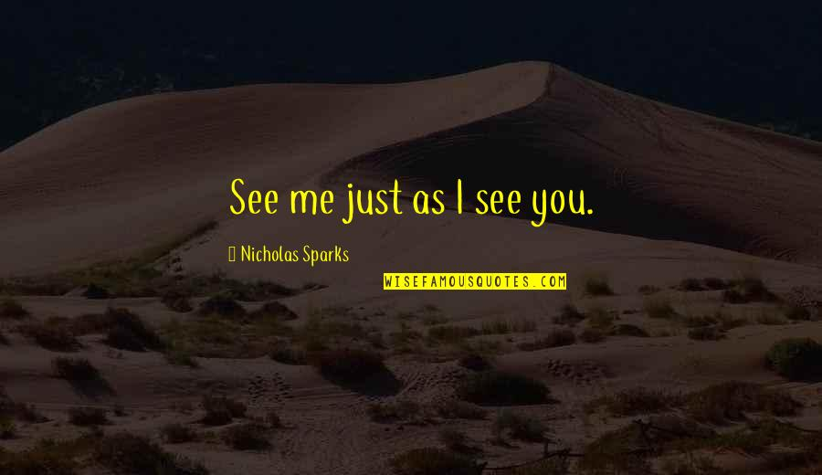 Coronation Night Quotes By Nicholas Sparks: See me just as I see you.