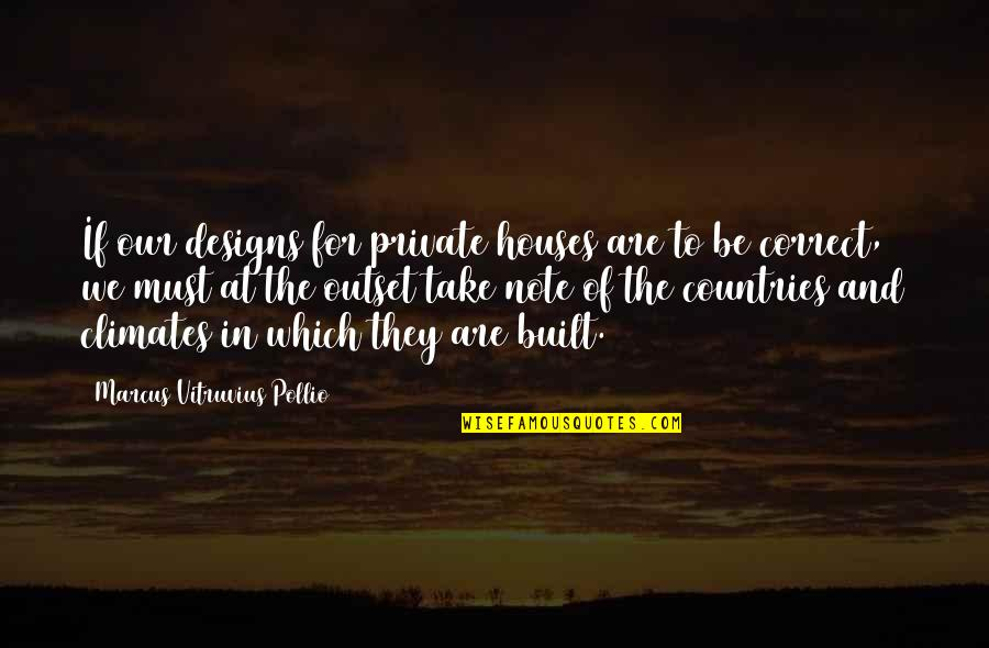 Correct Quotes By Marcus Vitruvius Pollio: If our designs for private houses are to
