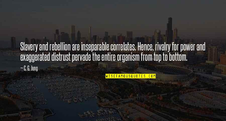 Correlates Quotes By C. G. Jung: Slavery and rebellion are inseparable correlates. Hence, rivalry
