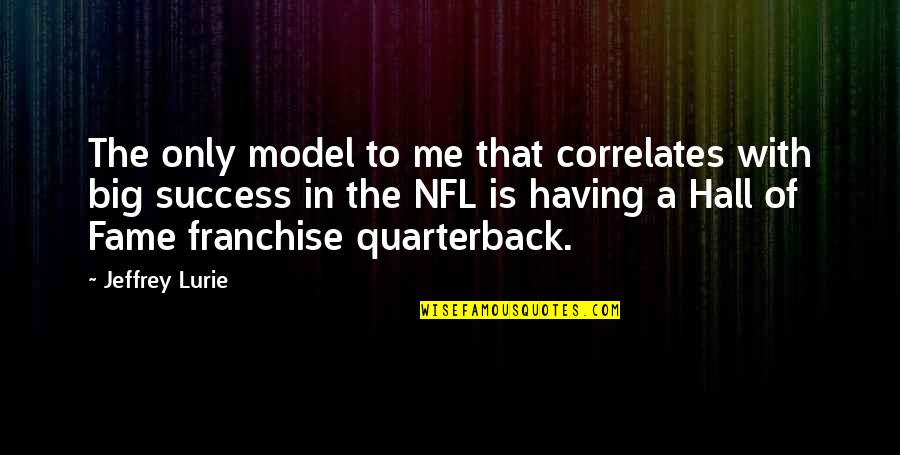 Correlates Quotes By Jeffrey Lurie: The only model to me that correlates with