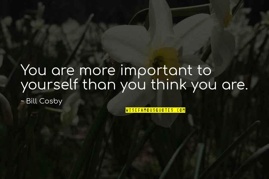 Cosby Quotes By Bill Cosby: You are more important to yourself than you