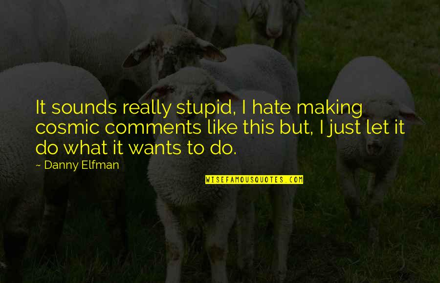 Cosmic Quotes By Danny Elfman: It sounds really stupid, I hate making cosmic