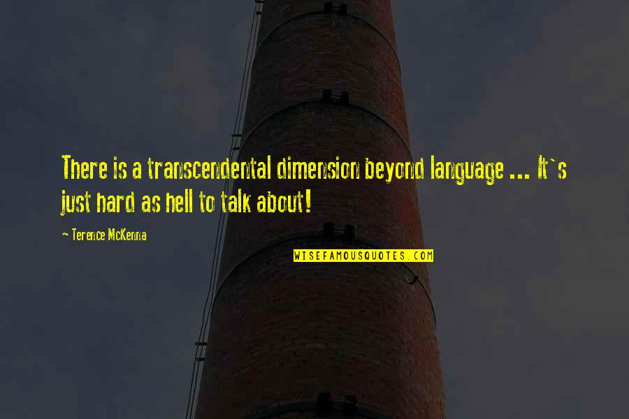 Cosmosphere Quotes By Terence McKenna: There is a transcendental dimension beyond language ...