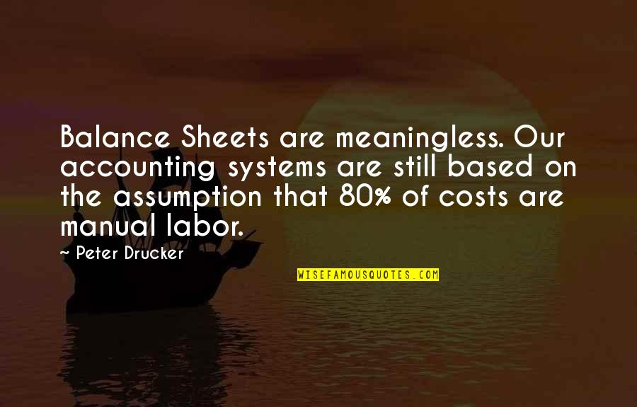 Cost Accounting Quotes By Peter Drucker: Balance Sheets are meaningless. Our accounting systems are