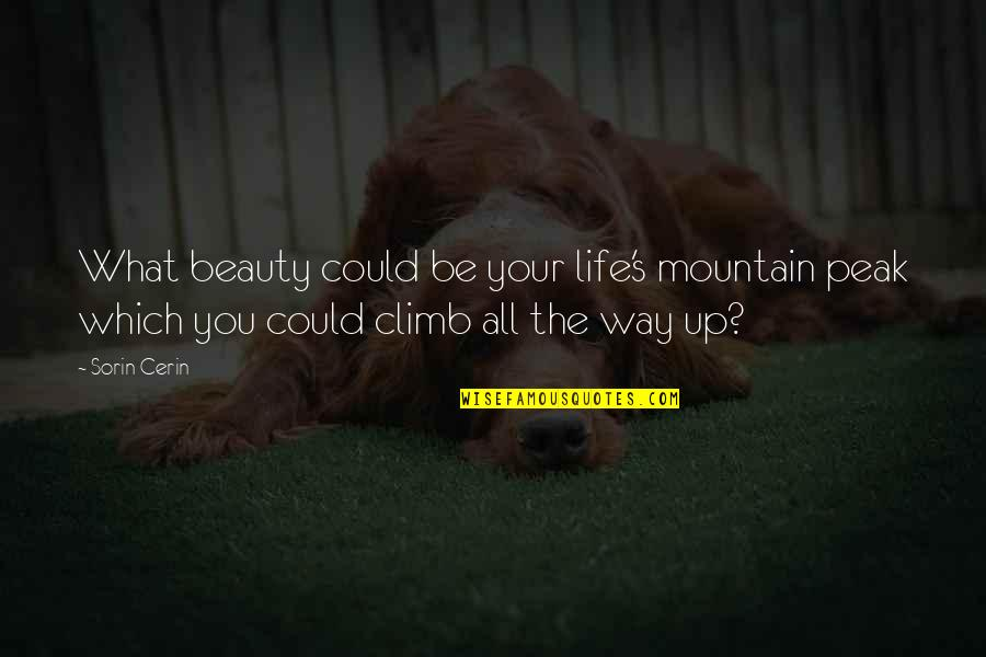 Counterposition Quotes By Sorin Cerin: What beauty could be your life's mountain peak