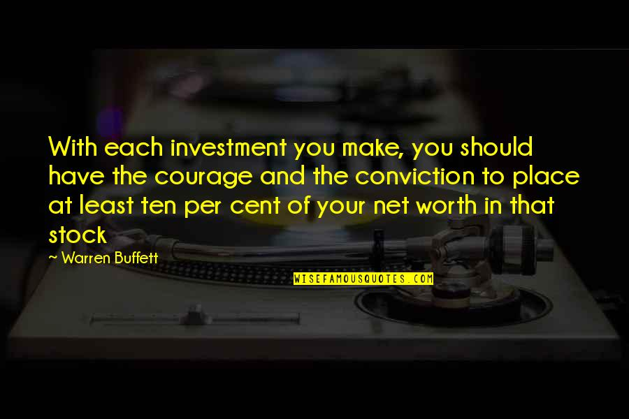 Courage And Conviction Quotes By Warren Buffett: With each investment you make, you should have