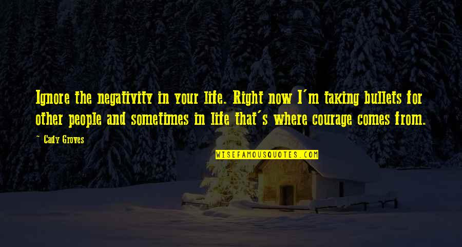 Courage In Life Quotes By Cady Groves: Ignore the negativity in your life. Right now