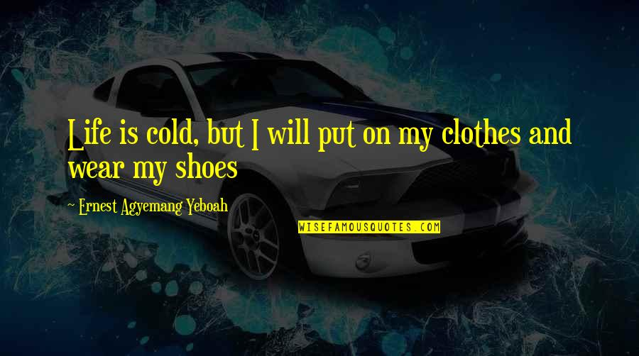 Courage In Life Quotes By Ernest Agyemang Yeboah: Life is cold, but I will put on