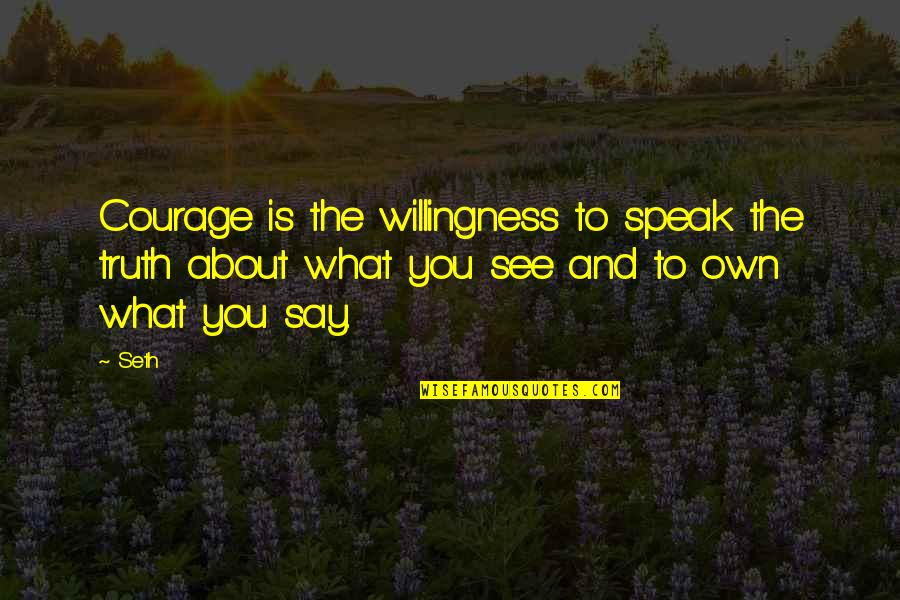 Courage To Speak Up Quotes By Seth: Courage is the willingness to speak the truth