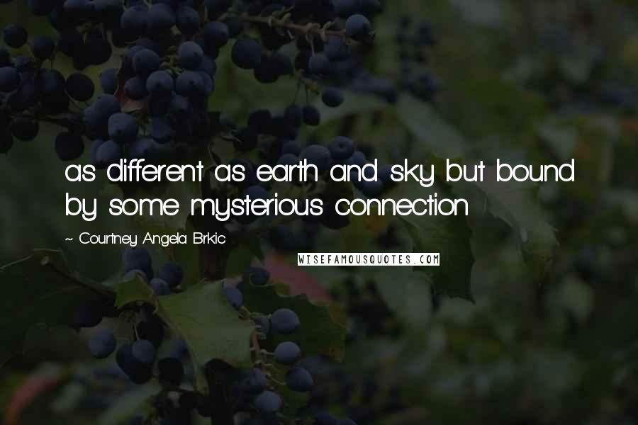 Courtney Angela Brkic quotes: as different as earth and sky but bound by some mysterious connection