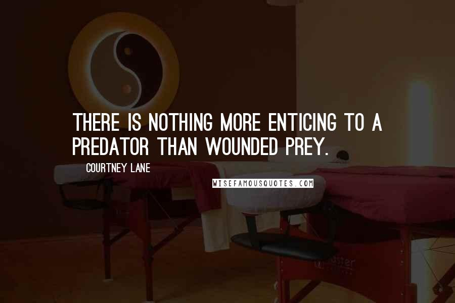 Courtney Lane quotes: there is nothing more enticing to a predator than wounded prey.