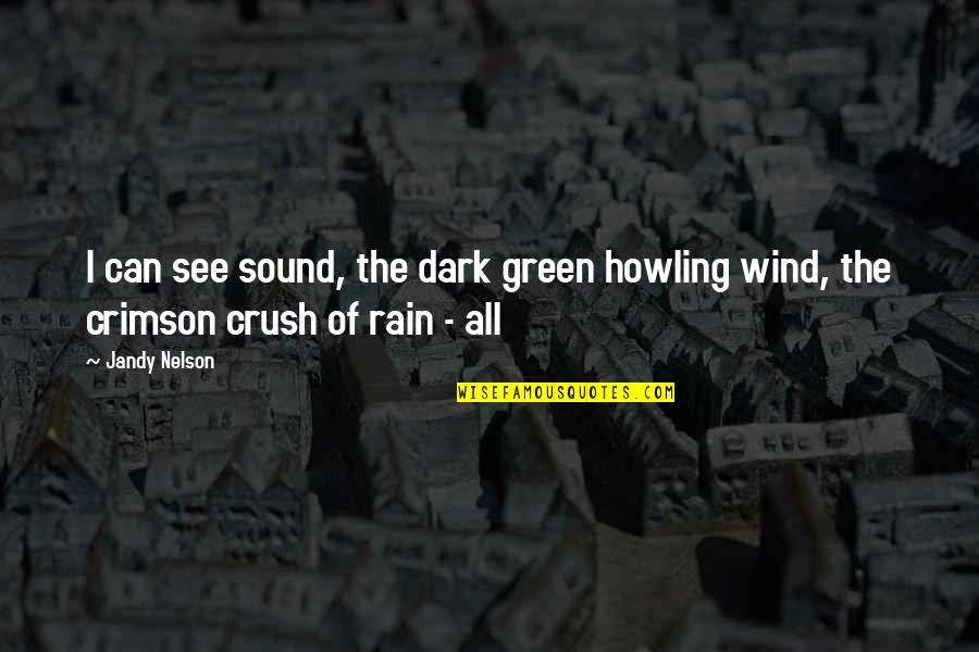 Covering My Eyes Quotes By Jandy Nelson: I can see sound, the dark green howling