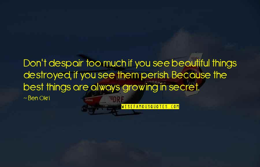 Covering Up Sadness With A Smile Quotes By Ben Okri: Don't despair too much if you see beautiful