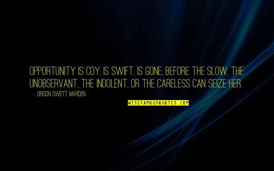 Coy Quotes By Orison Swett Marden: Opportunity is coy, is swift, is gone, before