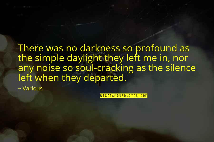 Cracking Me Up Quotes By Various: There was no darkness so profound as the