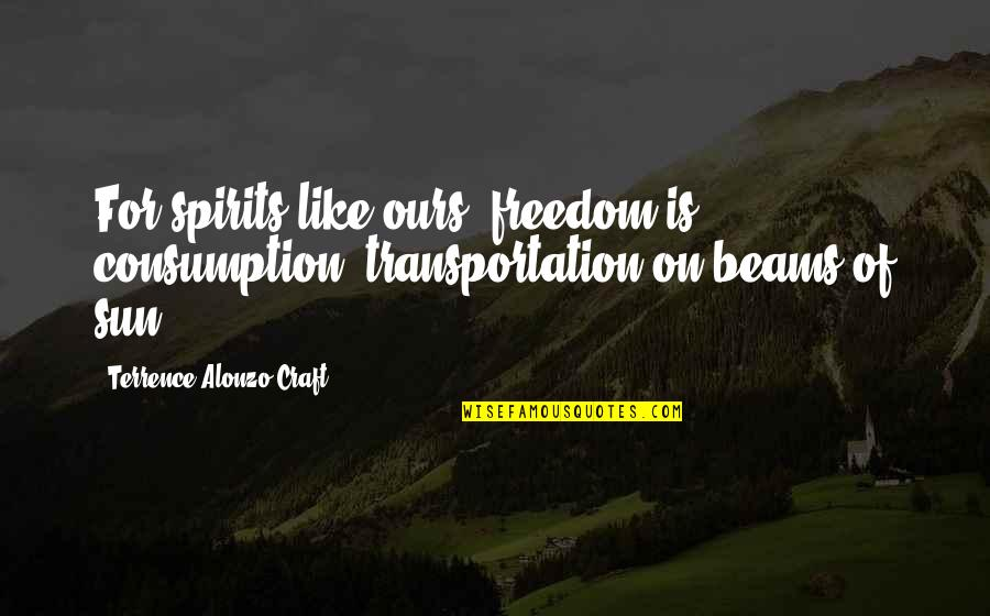 Craft'll Quotes By Terrence Alonzo Craft: For spirits like ours, freedom is consumption, transportation