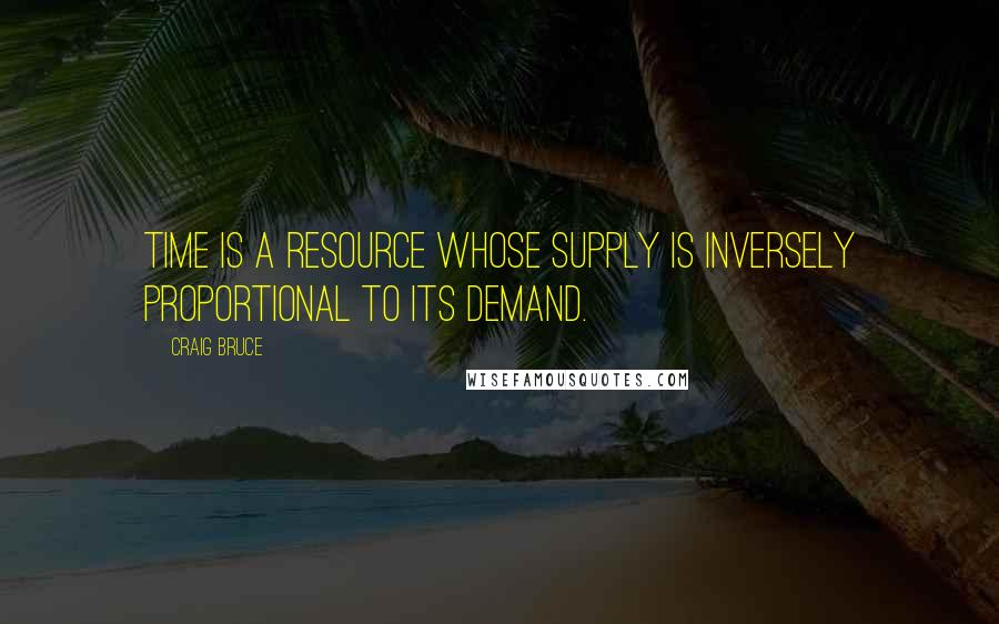 Craig Bruce quotes: Time is a resource whose supply is inversely proportional to its demand.