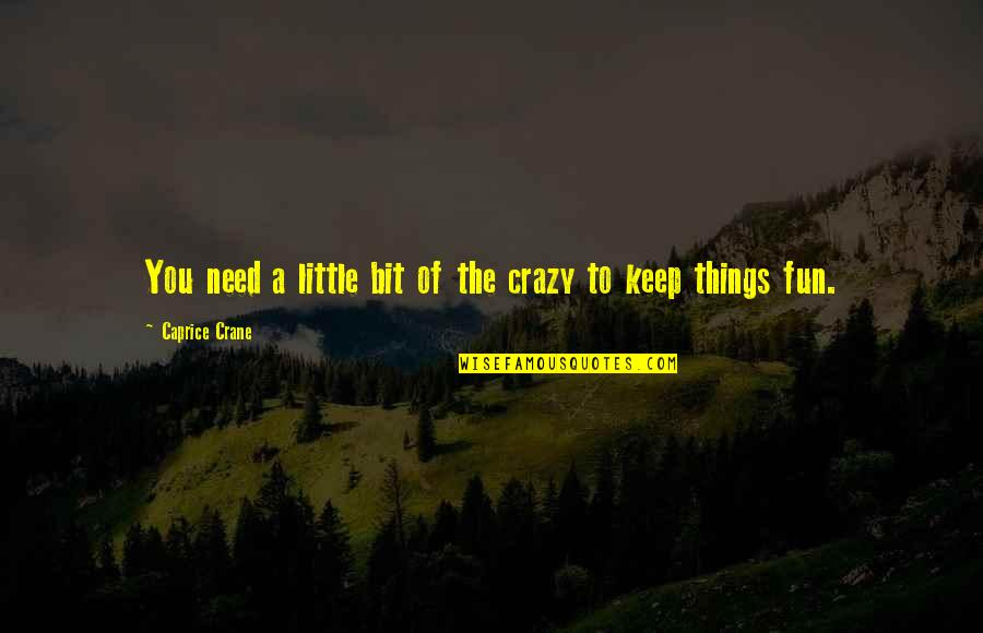 Crazy Little Things Quotes By Caprice Crane: You need a little bit of the crazy