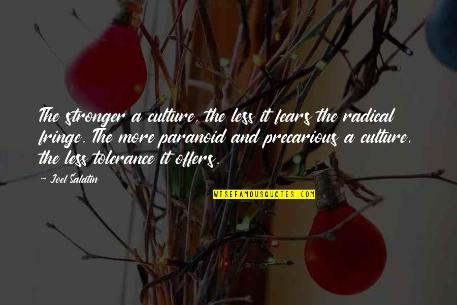 Crazy Mad Quotes By Joel Salatin: The stronger a culture, the less it fears