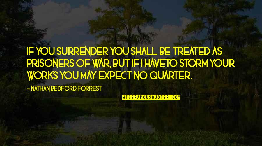 Crazy Mad Quotes By Nathan Bedford Forrest: If you surrender you shall be treated as