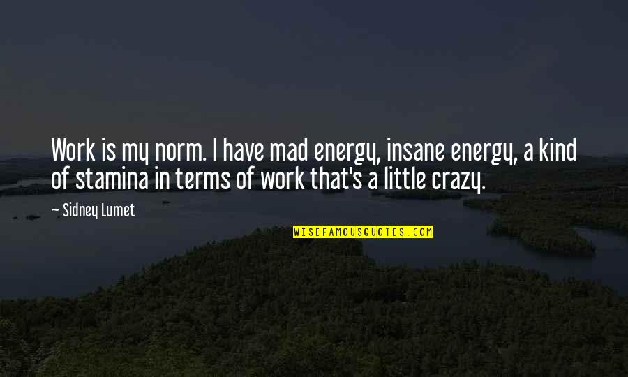 Crazy Mad Quotes By Sidney Lumet: Work is my norm. I have mad energy,