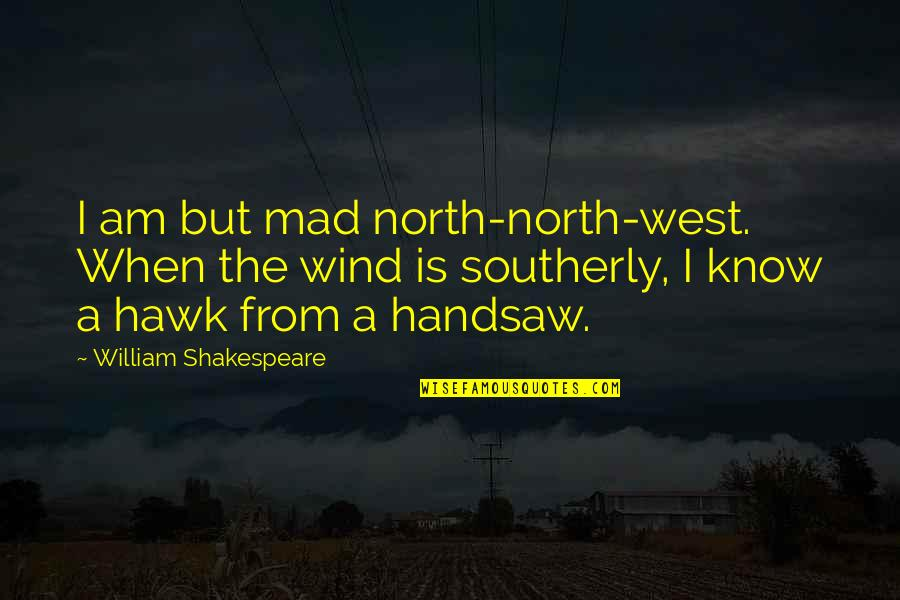 Crazy Mad Quotes By William Shakespeare: I am but mad north-north-west. When the wind
