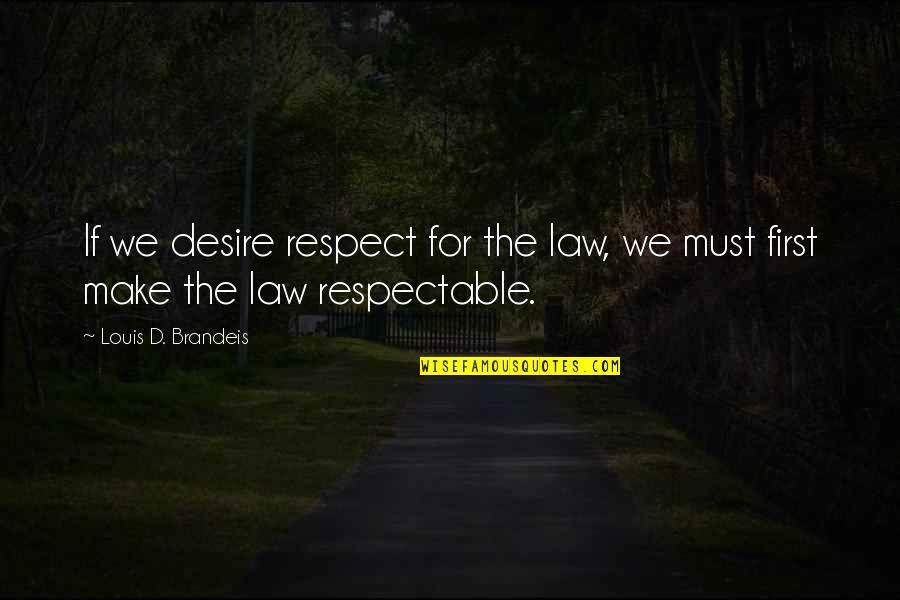 Crazy Psycho Quotes By Louis D. Brandeis: If we desire respect for the law, we