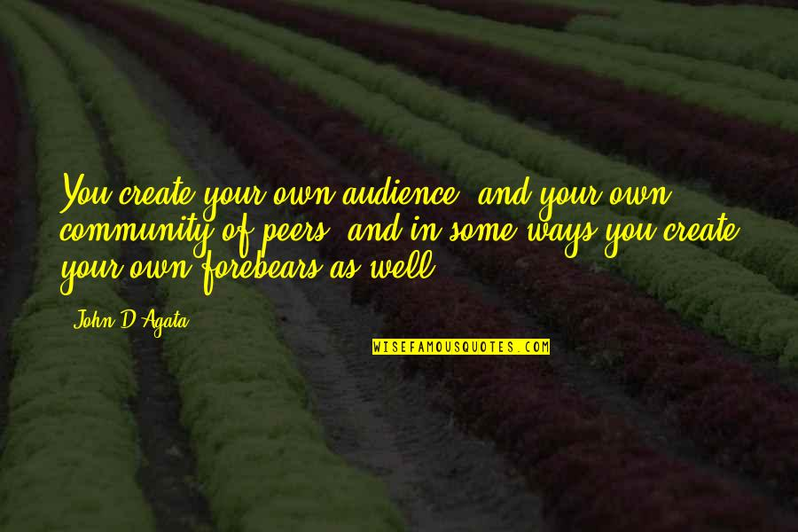 Create Your Own Quotes By John D'Agata: You create your own audience, and your own
