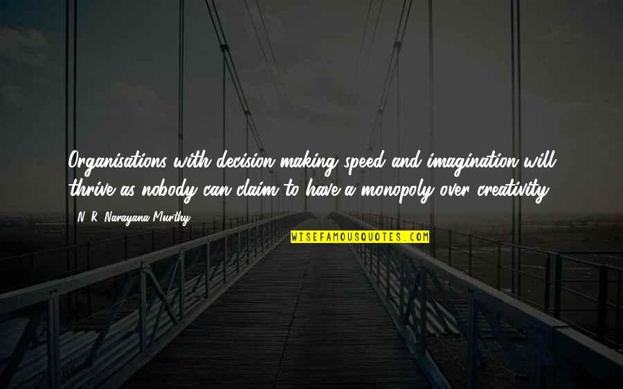 Creativity In Business Quotes By N. R. Narayana Murthy: Organisations with decision-making speed and imagination will thrive
