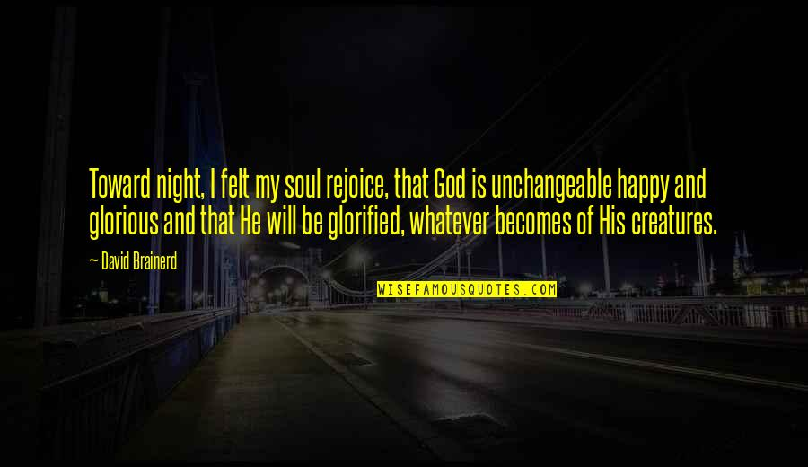 Creatures Of The Night Quotes By David Brainerd: Toward night, I felt my soul rejoice, that